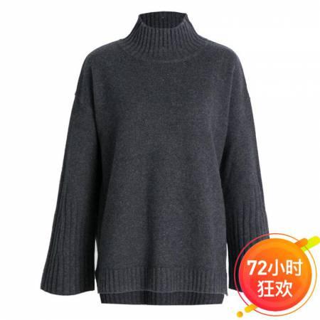今升 半高领喇叭袖全羊毛毛衣针织打底衫·丰深灰