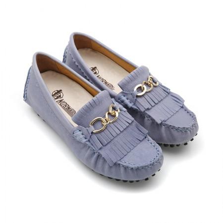 诺曼地环扣流苏豆豆鞋·浅蓝