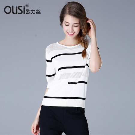 欧力丝OLISI女装简约线条修身唯美舒适针织衫·白色