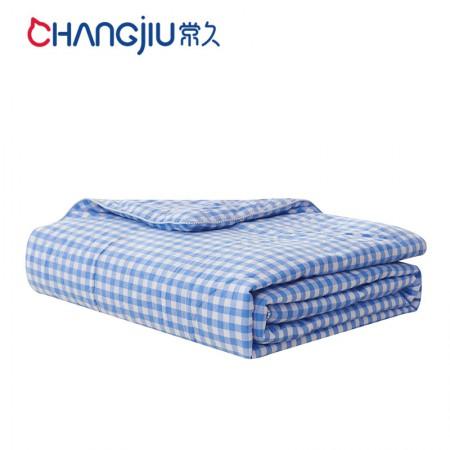常久 水洗棉蚕丝被休闲被155*205cm2.6斤 蓝小格