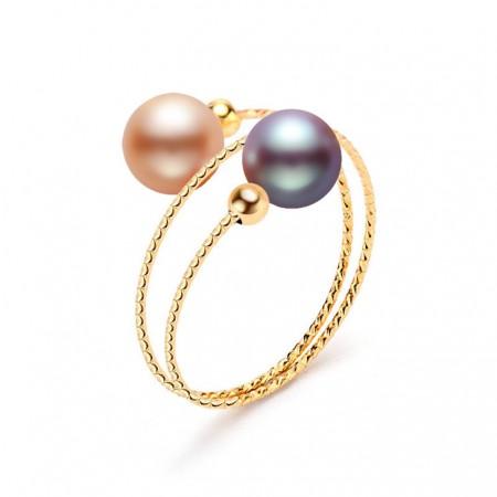 安妮糖果色Baby珠18K金双圈戒指