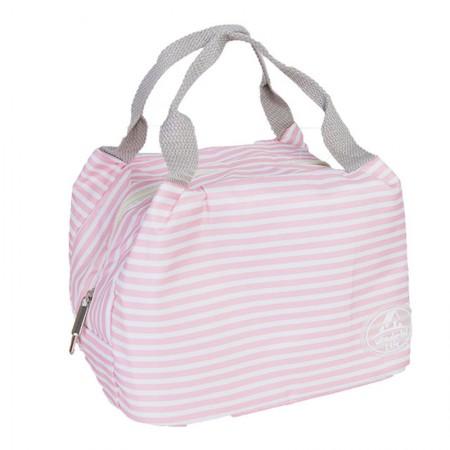 宝优妮 午餐饭盒保温袋防水手提包DQ9003系列·条纹粉