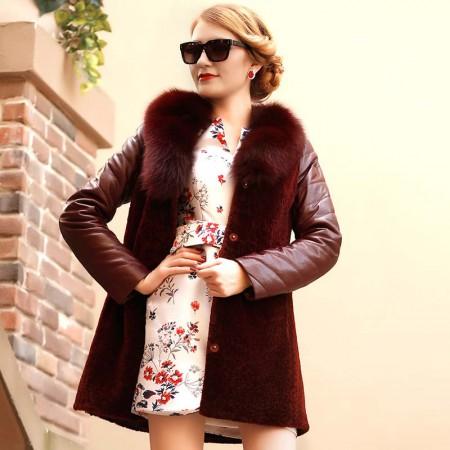 艾芭莎狐狸毛领皮毛同体大衣·酒红色
