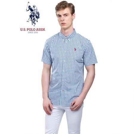 u.s.polo assn.(美国马球协会)美式短袖衬衫 蓝绿紫格·男