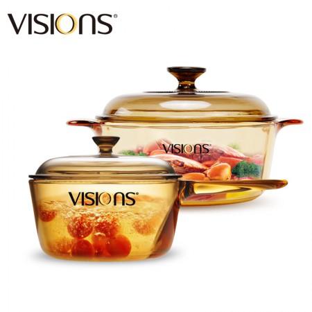美国康宁 VS2.2+VSP-1.5晶彩汤锅奶锅2.2L+1.5L·标配