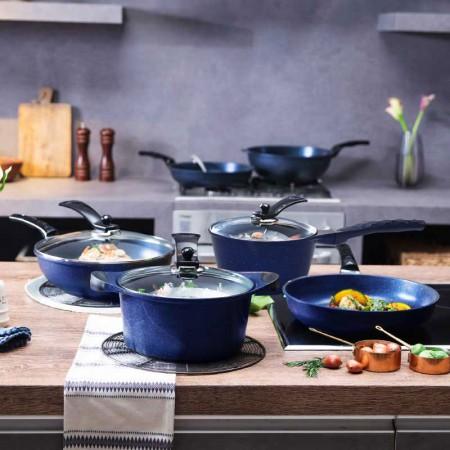 韩库 韩国进口蓝宝石炒煎汤奶锅实用套装锅搭配4件套锅铲