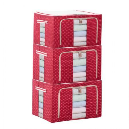 吉优百 66L可折叠牛津布波点百纳箱·3件组·波点红