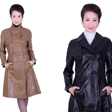 艾菲爱得 头层绵羊皮双排扣外套·黑色