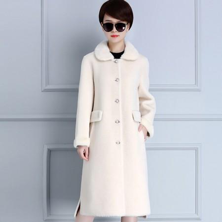 米彩微姿 水貂领颗粒皮毛一体中长款皮草大衣180929·米白