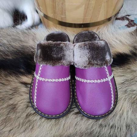 米彩微姿 十字英伦风冬季保暖牛皮拖鞋·紫色