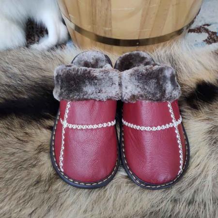 米彩微姿 十字英伦风冬季保暖牛皮拖鞋·酒红色
