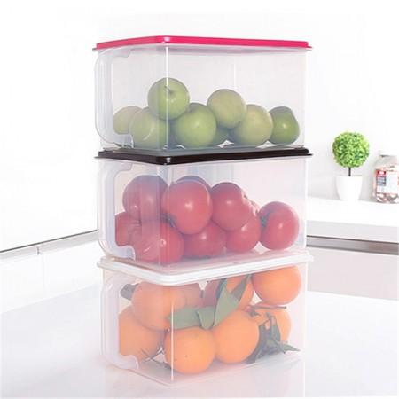 inomata日本进口冰箱收纳箱 厨房保鲜塑料储物箱B217·白色