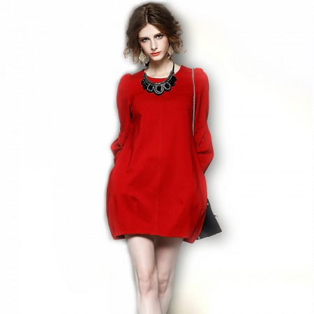 丁摩 茧型包臀灯笼袖连衣裙·红色