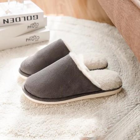 朴西 冬季简约系列纯色麂皮绒男女情侣拖鞋·深灰