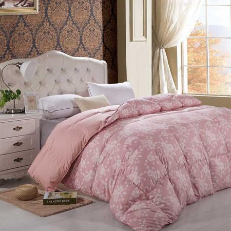 奈士迪 全棉印花90鹅绒加厚冬被 220*240cm 2.6斤·藕粉色