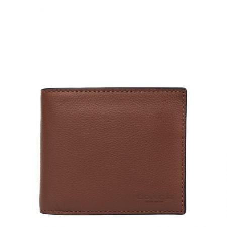 COACH 男士短款净面钱包·棕色
