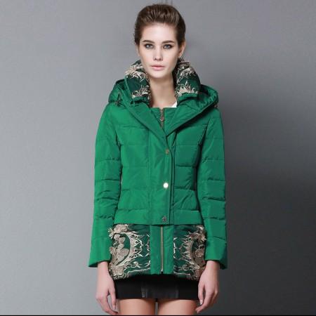 皮尔卡丹时尚修身中长款羽绒服-C1233·绿色