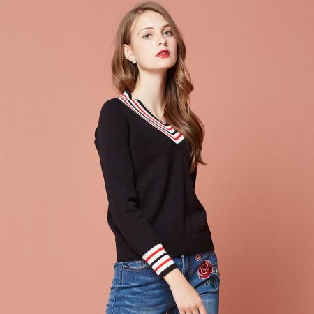 OLISI欧力丝女装撞色条纹V领设计打底毛衣可外穿针织衫·黑色