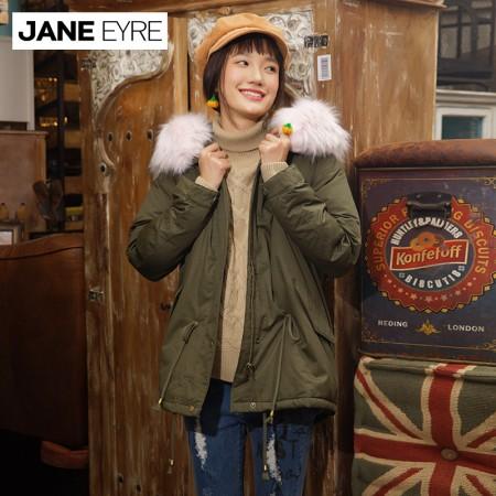 Jane Eyre 仿毛领装饰羽绒服短款(JE5025)·军绿