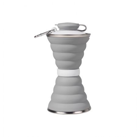 食品级硅胶折叠水壶户外运动大容量水杯伸缩便携凉水壶500ml·灰色
