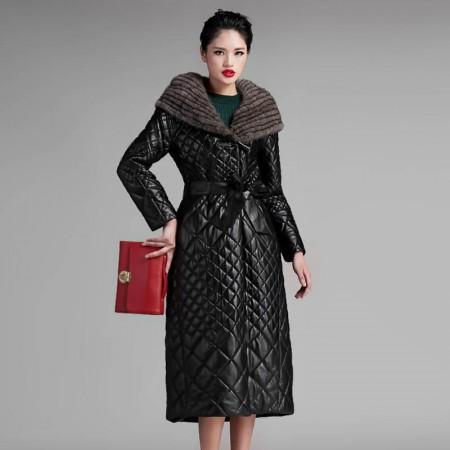恺瑞女士水貂帽皮羽绒·黑色